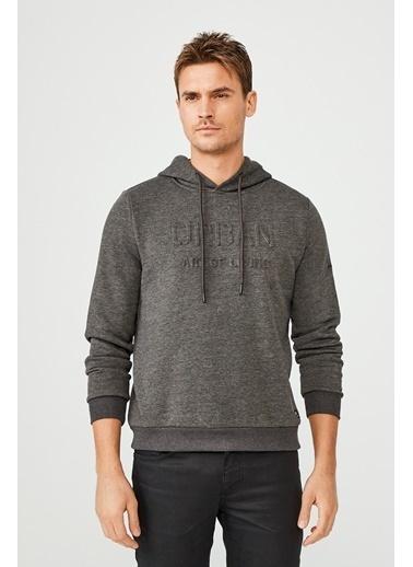 Avva Erkek  Kapüşonlu Yaka Gofret Baskılı Sweatshirt A02Y1085 Antrasit